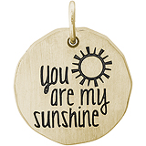 Gold Plate You are my Sunshine Charm Tag by Rembrandt Charms