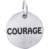 14K White Gold Courage Charm Tag by Rembrandt Charms