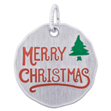 14K White Gold Merry Christmas Charm Tag by Rembrandt Charms