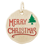 Gold Plated Merry Christmas Charm Tag by Rembrandt Charms