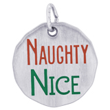 14K White Gold Naughty Nice Charm Tag by Rembrandt Charms