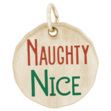 Gold Plated Naughty Nice Charm Tag by Rembrandt Charms