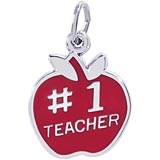 14K White Gold Number One Teachers Apple Charm by Rembrandt Charms