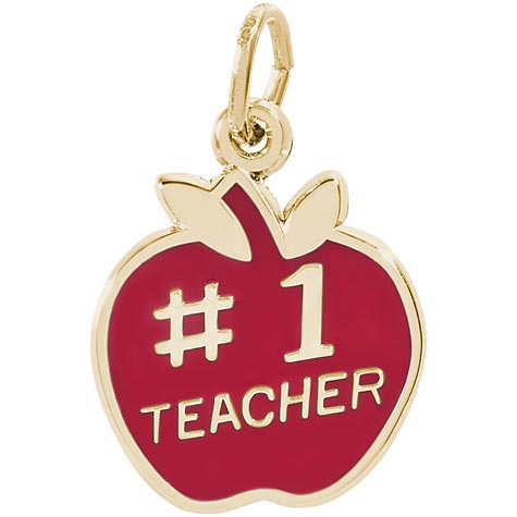 14k Gold Number One Teachers Apple Charm by Rembrandt Charms