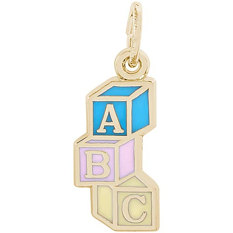 Gold Plated ABC Block Charm by Rembrandt Charms