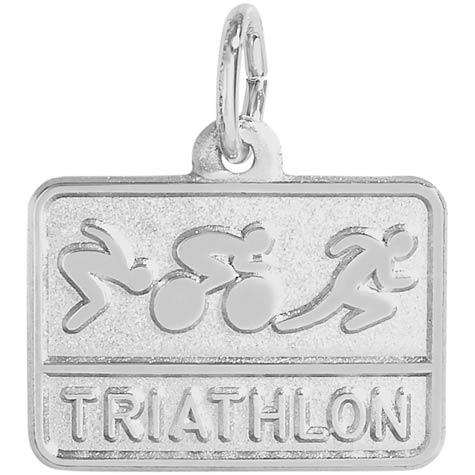 14K White Gold Triathlon Charm by Rembrandt Charms