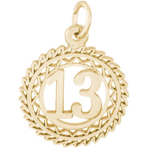 Gold Plate Number 13 Charm by Rembrandt Charms