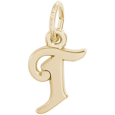 14K Gold Curly Initial T Accent Charm by Rembrandt Charms