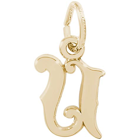 14K Gold Curly Initial U Accent Charm by Rembrandt Charms