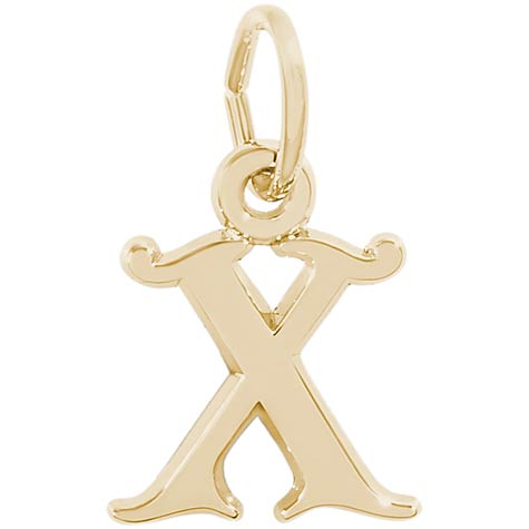 14K Gold Curly Initial X Accent Charm by Rembrandt Charms