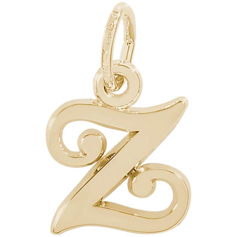 14K Gold Curly Initial Z Accent Charm by Rembrandt Charms