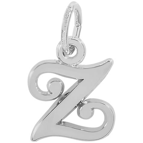 14K White Gold Curly Initial Z Accent Charm by Rembrandt Charms
