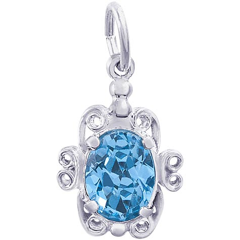 14K White Gold 12 December Filigree Charm by Rembrandt Charms