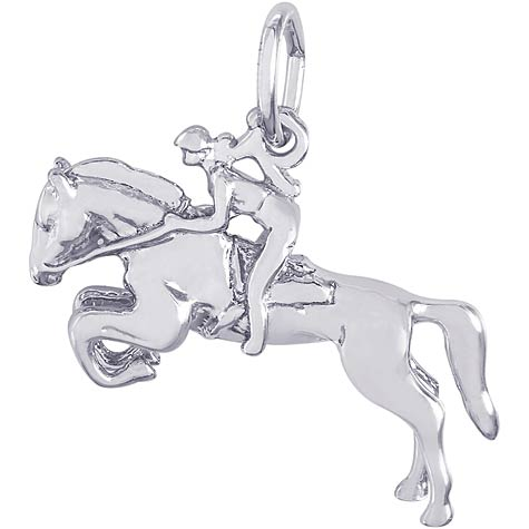14K White Gold Horse and Jockey Charm by Rembrandt Charms