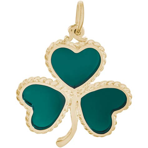 Gold Plate Green Shamrock Charm by Rembrandt Charms