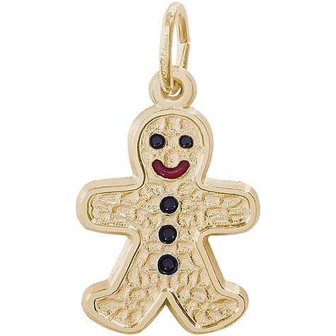 Gold Plate Gingerbread Man Charm by Rembrandt Charms