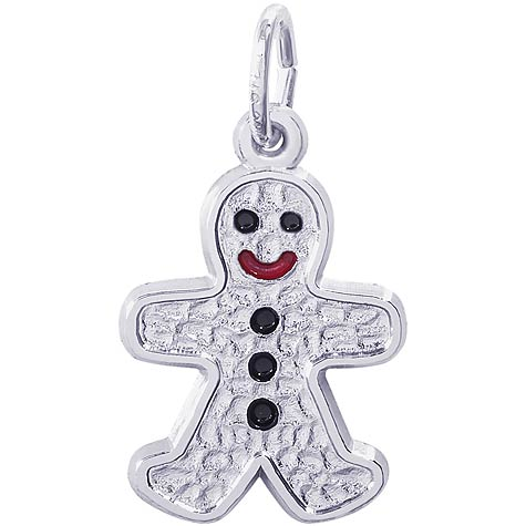 14K White Gold Gingerbread Man Charm by Rembrandt Charms
