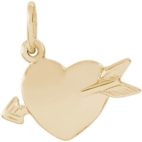 14K Gold Love Struck Heart Charm by Rembrandt Charms