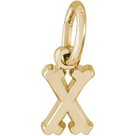 14K Gold Small Serif Initial X Accent by Rembrandt Charms