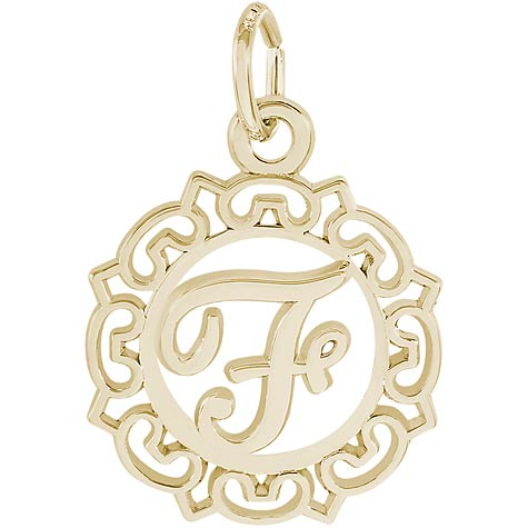 14K Gold Ornate Script Initial F Charm by Rembrandt Charms