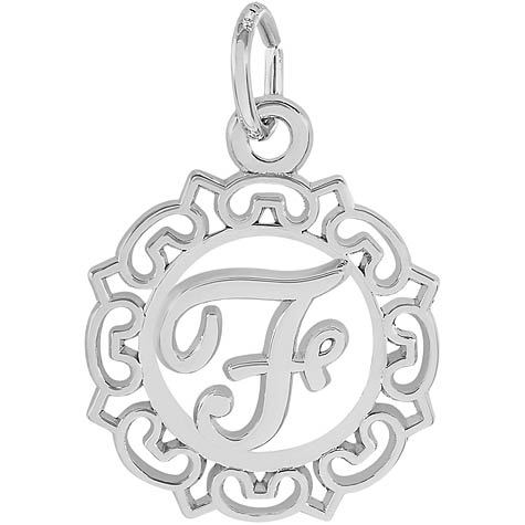 14K White Gold Ornate Script Initial F Charm by Rembrandt Charms