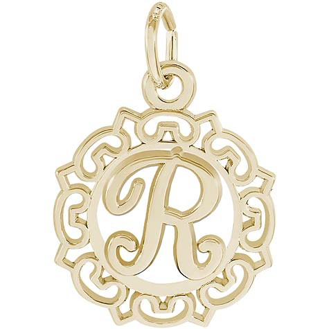 14K Gold Ornate Script Initial R Charm by Rembrandt Charms