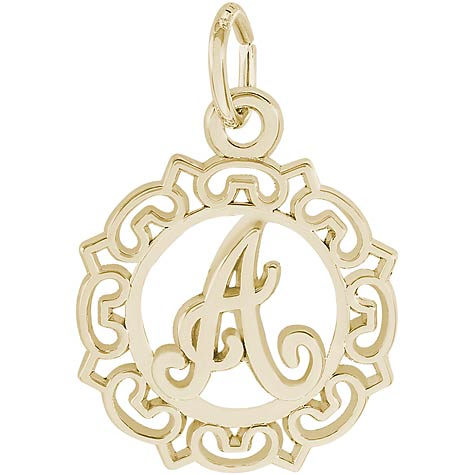 14K Gold Ornate Script Initial A Charm by Rembrandt Charms