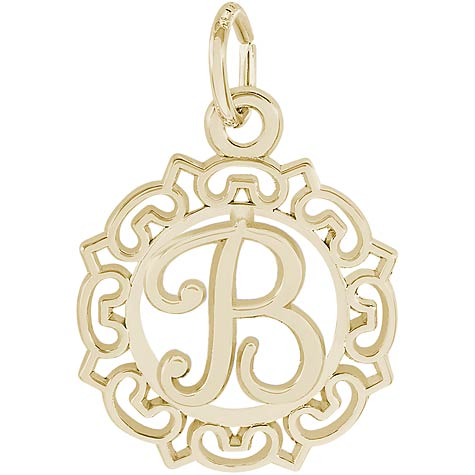 14K Gold Ornate Script Initial B Charm by Rembrandt Charms
