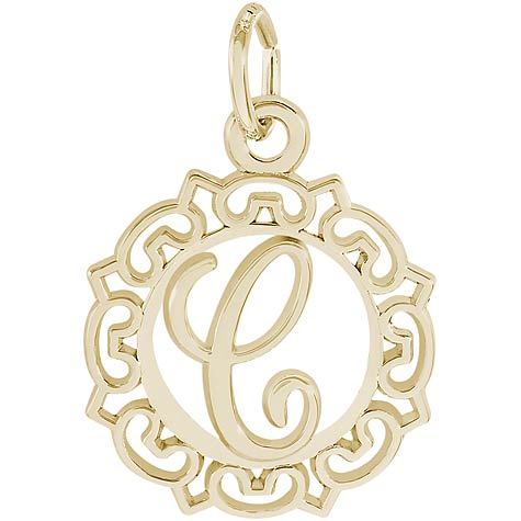 14K Gold Ornate Script Initial C Charm by Rembrandt Charms