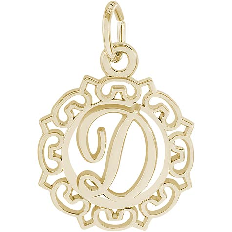 14K Gold Ornate Script Initial D Charm by Rembrandt Charms