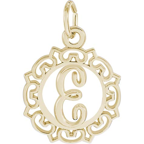 14K Gold Ornate Script Initial E Charm by Rembrandt Charms