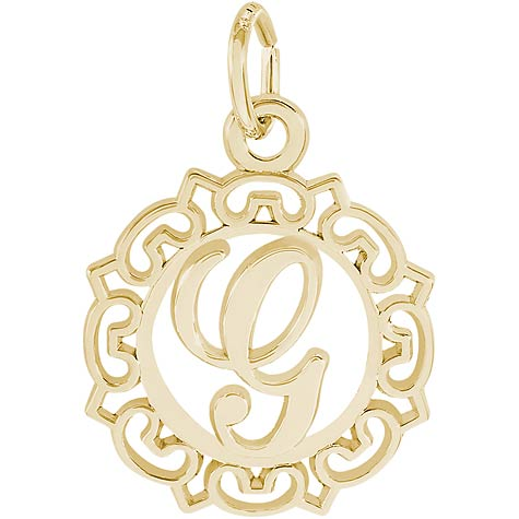 14K Gold Ornate Script Initial G Charm by Rembrandt Charms