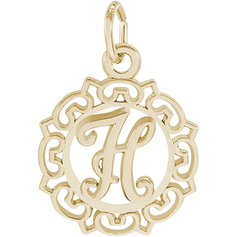 14K Gold Ornate Script Initial H Charm by Rembrandt Charms