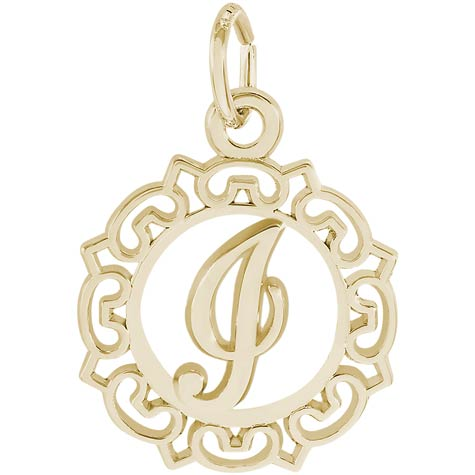 14K Gold Ornate Script Initial I Charm by Rembrandt Charms