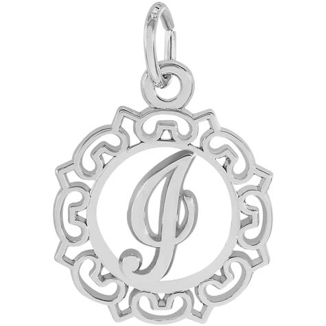 14K White Gold Ornate Script Initial I Charm by Rembrandt Charms
