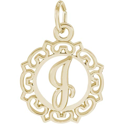 14K Gold Ornate Script Initial J Charm by Rembrandt Charms