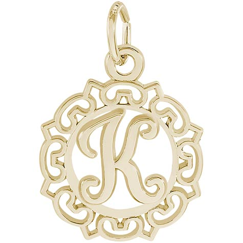 14K Gold Ornate Script Initial K Charm by Rembrandt Charms
