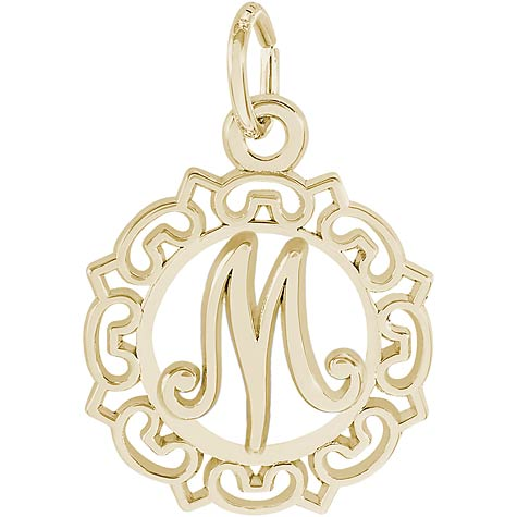 10K Gold Ornate Script Initial M Charm by Rembrandt Charms