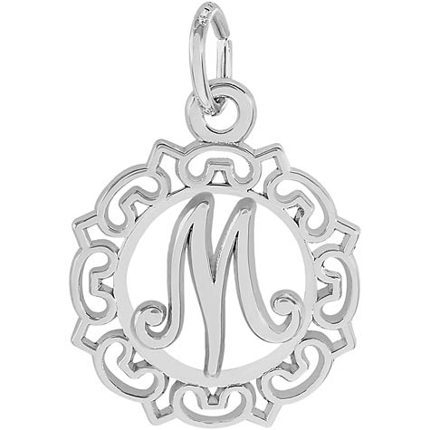 14K White Gold Ornate Script Initial M Charm by Rembrandt Charms
