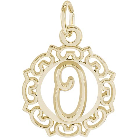 14K Gold Ornate Script Initial O Charm by Rembrandt Charms