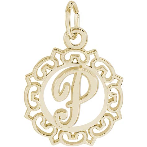 14K Gold Ornate Script Initial P Charm by Rembrandt Charms