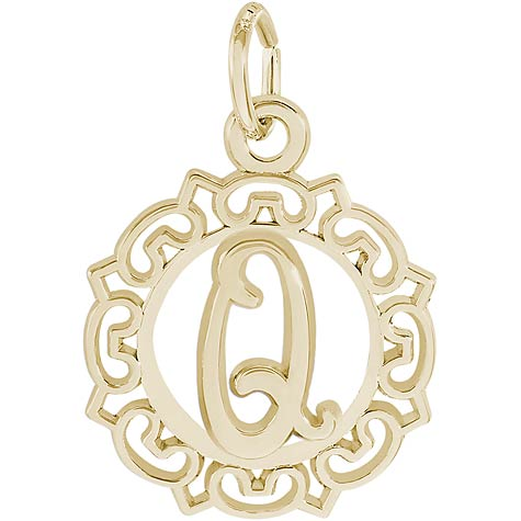 14K Gold Ornate Script Initial Q Charm by Rembrandt Charms