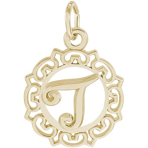 14K Gold Ornate Script Initial T Charm by Rembrandt Charms