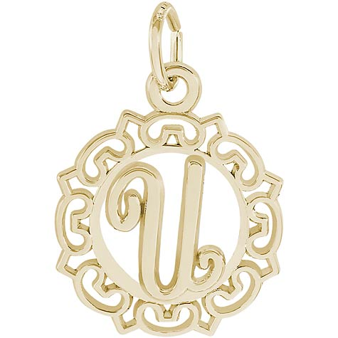 14K Gold Ornate Script Initial U Charm by Rembrandt Charms