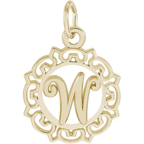 14K Gold Ornate Script Initial W Charm by Rembrandt Charms