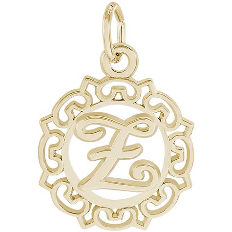 14K Gold Ornate Script Initial Z Charm by Rembrandt Charms