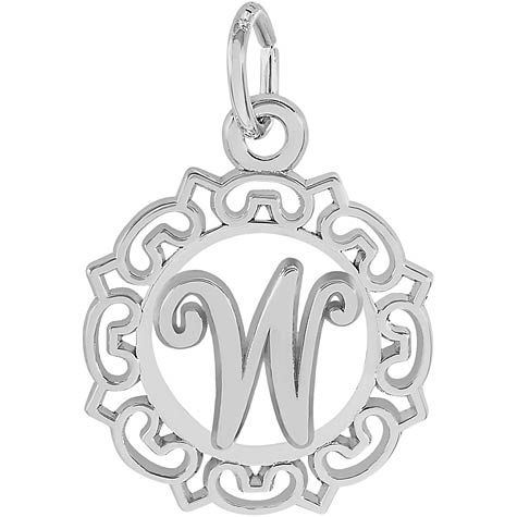 14K White Gold Ornate Script Initial W Charm by Rembrandt Charms