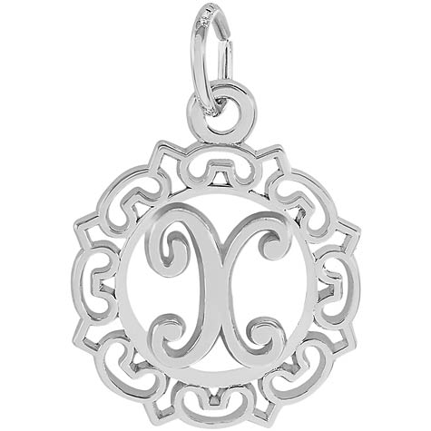 Sterling Silver Ornate Script Initial X Charm by Rembrandt Charms