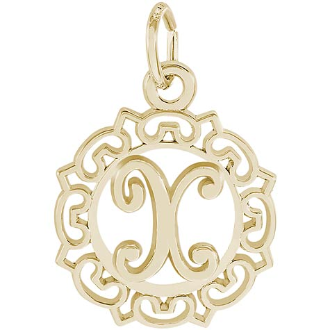 Gold Plate Ornate Script Initial X Charm by Rembrandt Charms