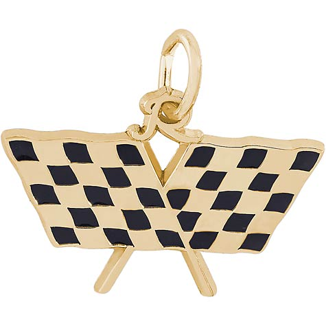 Gold Plate Racing Flags Charm by Rembrandt Charms